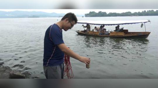 最后一天在杭州西湖用强磁打捞啦,看看小伙又捞到了什么
